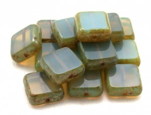 Czech opaline glass bead stack