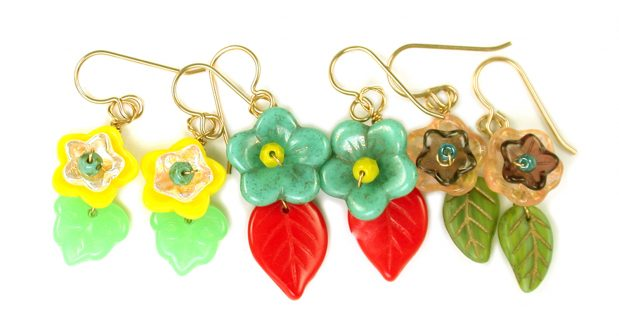 Make a Leaf and Nested Cup Flower Earring