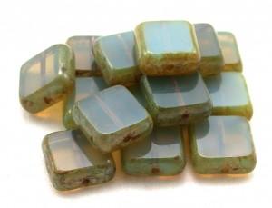 Czech opaline glass bead stack
